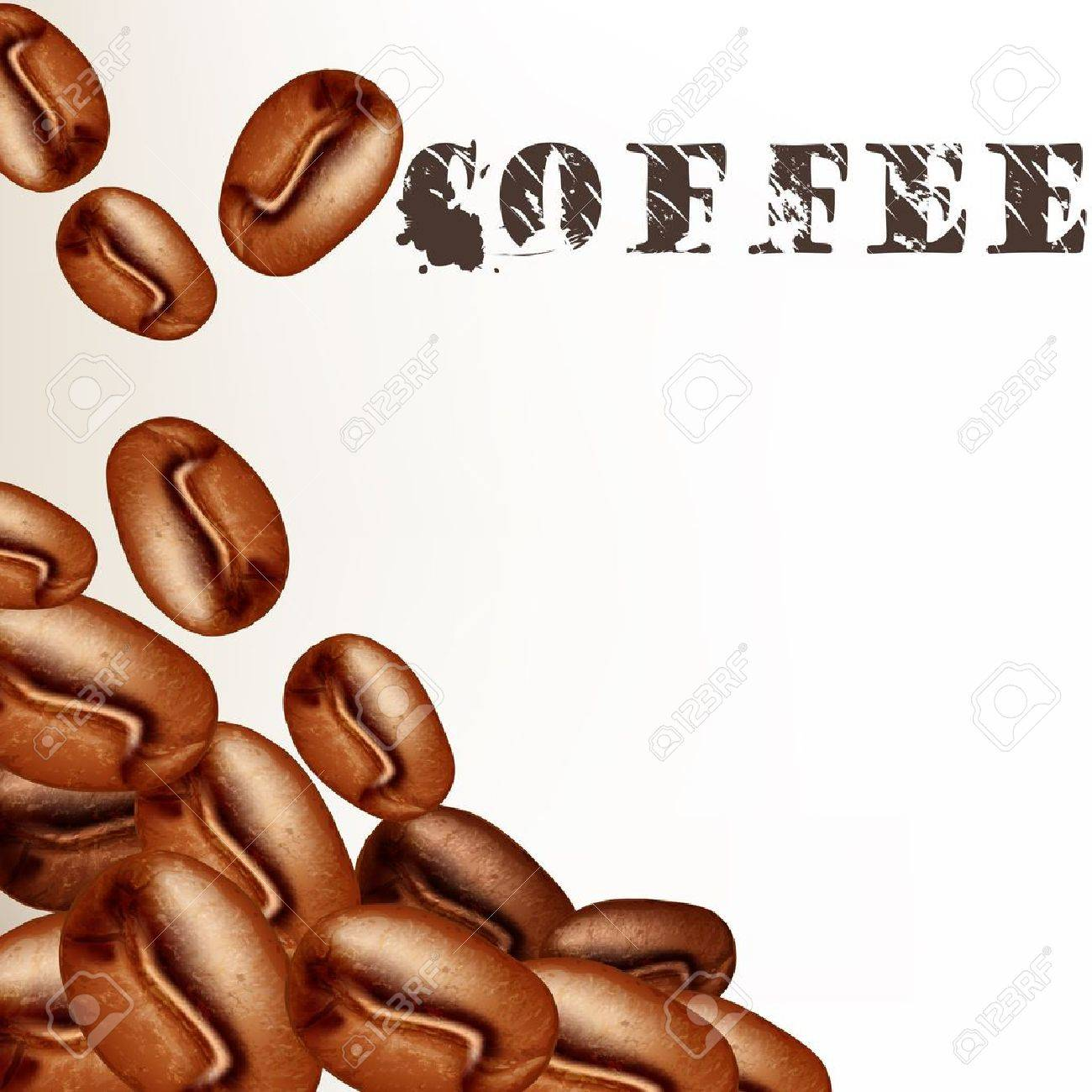 Coffee  vector  background with frosted coffee grains on a white Stock Vector - 20407053