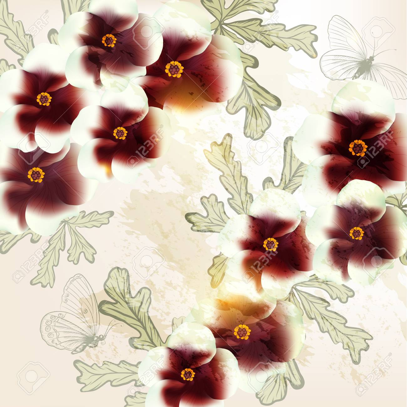 Cute vector background   in retro style with flowers Stock Vector - 20746513