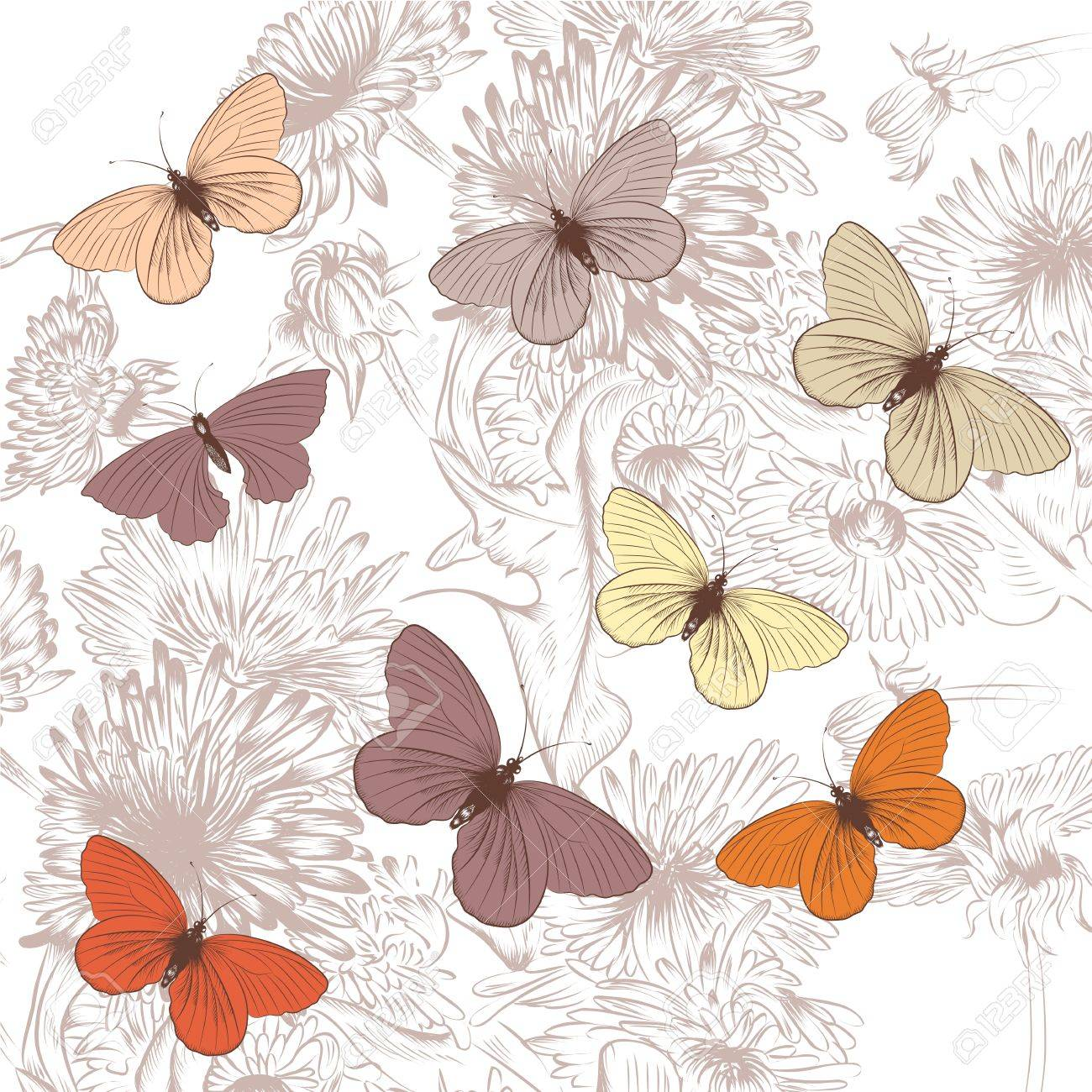 Elegant Vector Background With Pastel Butterflies And Hand Drawn Purple Flowers Standard Bild