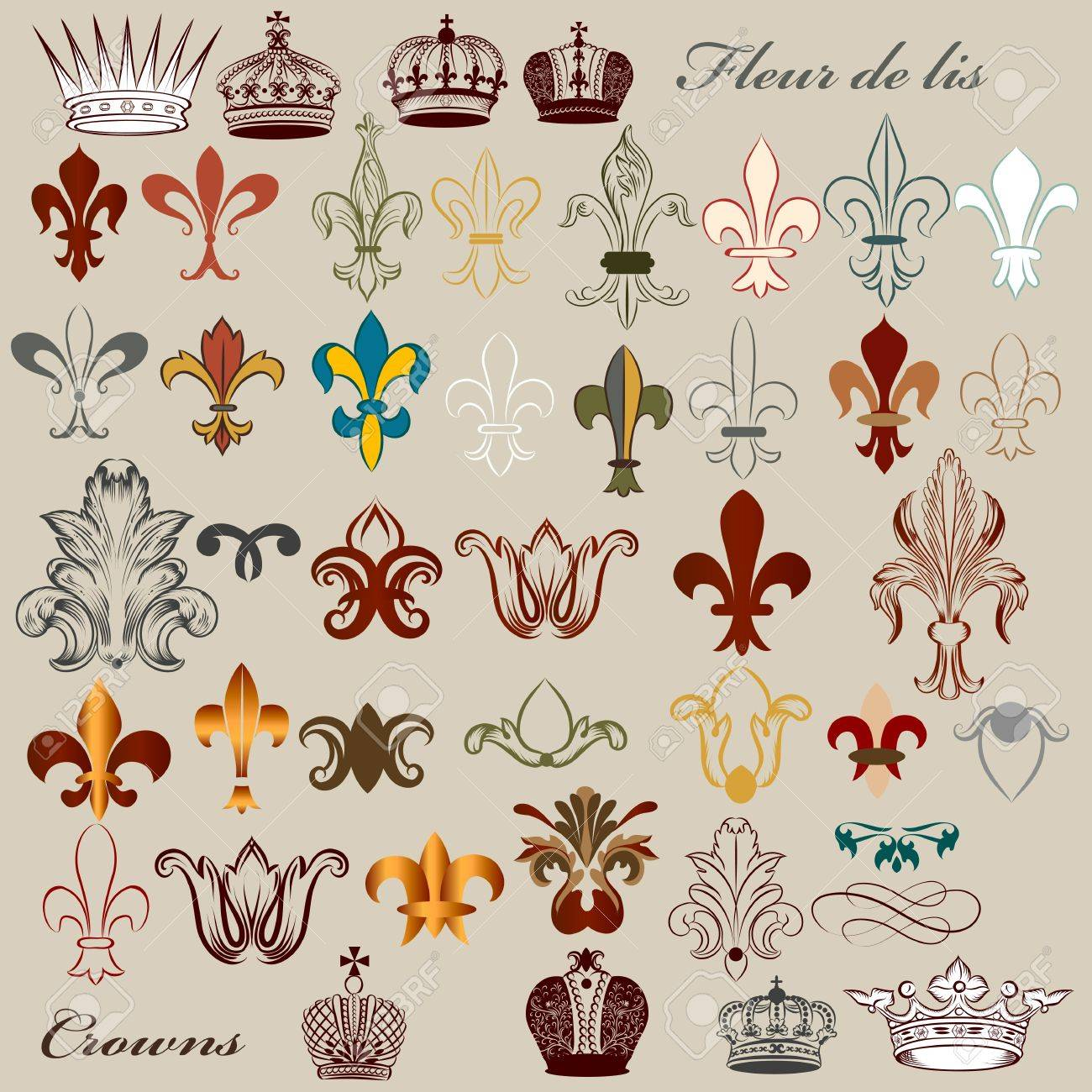 Vector set of luxury royal vintage elements for your heraldic design Stock Vector - 20917670