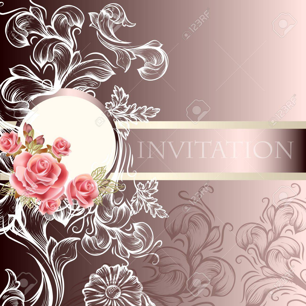 Hand Drawn Wedding Invitation Design In Floral Style Royalty Free ...