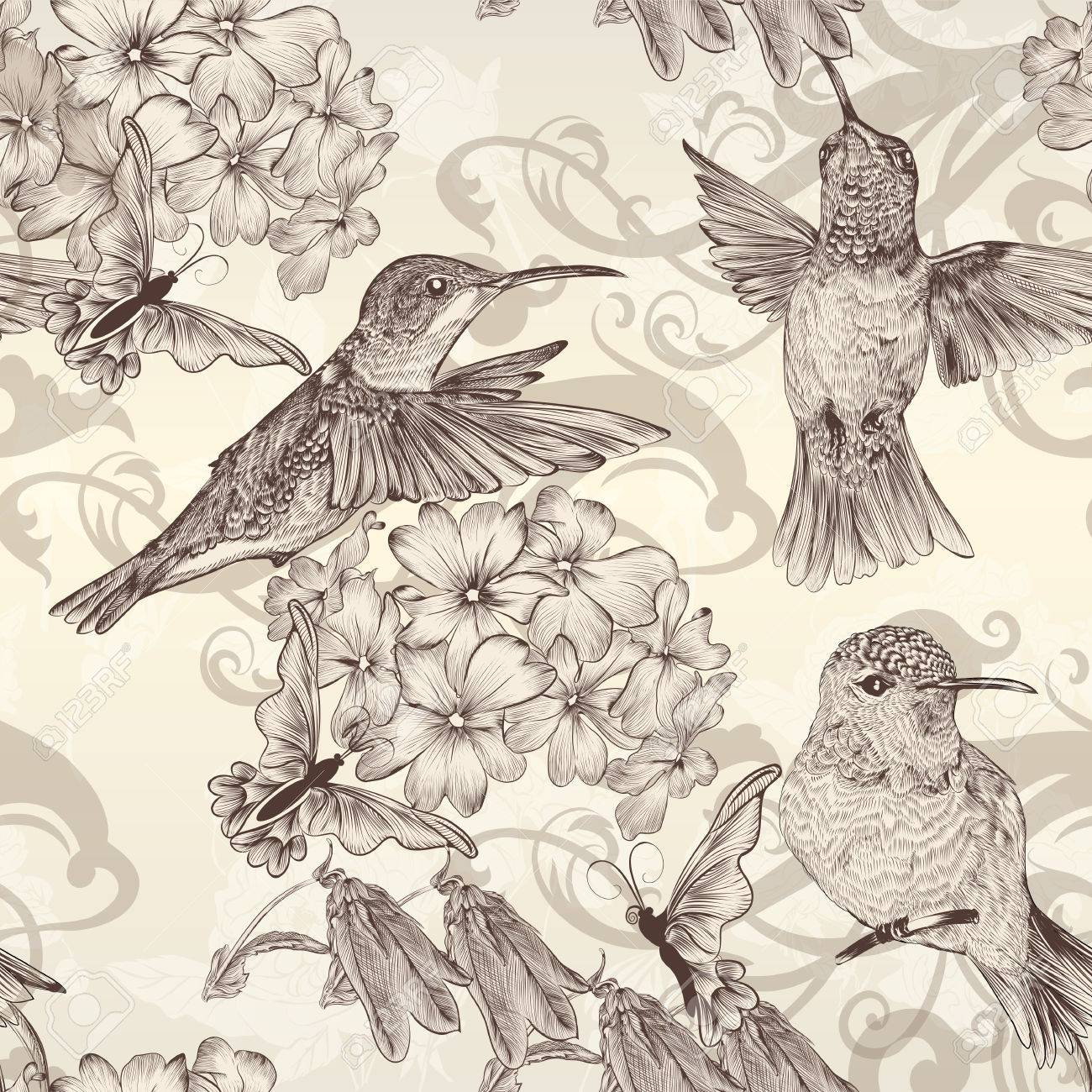 Vector Seamless Wallpaper Pattern With Birds And Flowers Royalty