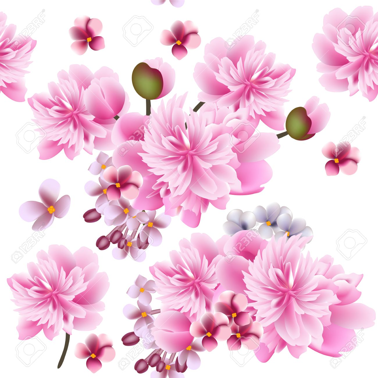 Vector Seamless Pattern For Wallpaper Design With Peony Flowers