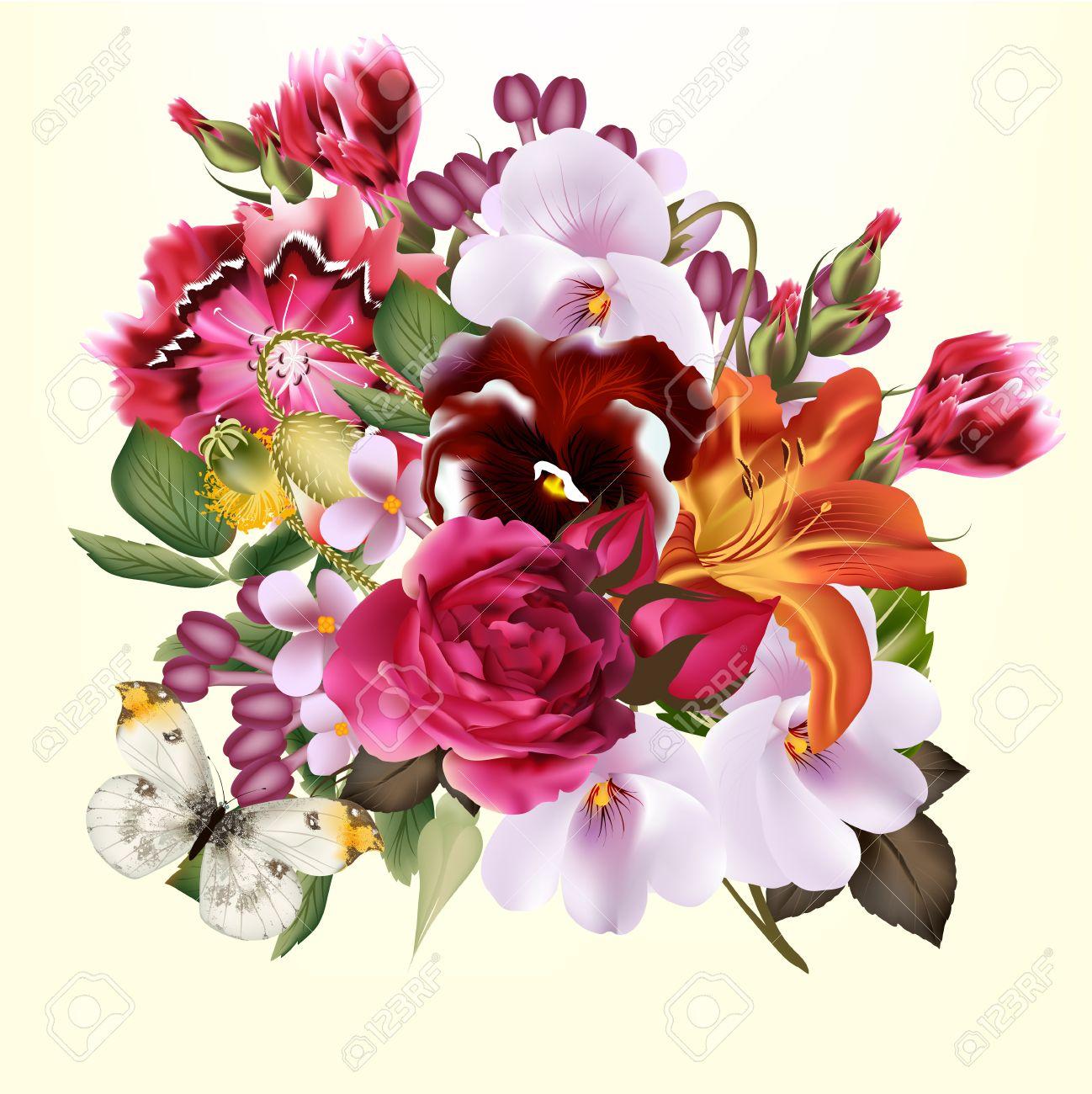 Très Vettore Sfondo Carino Con Bouquet Di Fiori Per Biglietti Di Auguri  RZ53