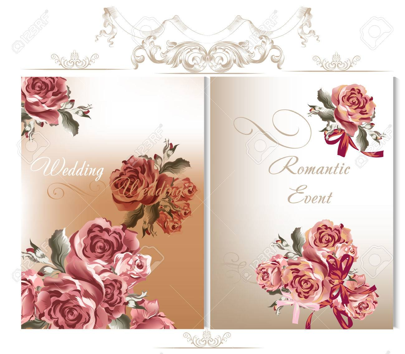 Vector Cute Wedding Cards With Roses In Vintage Style For Design Stock