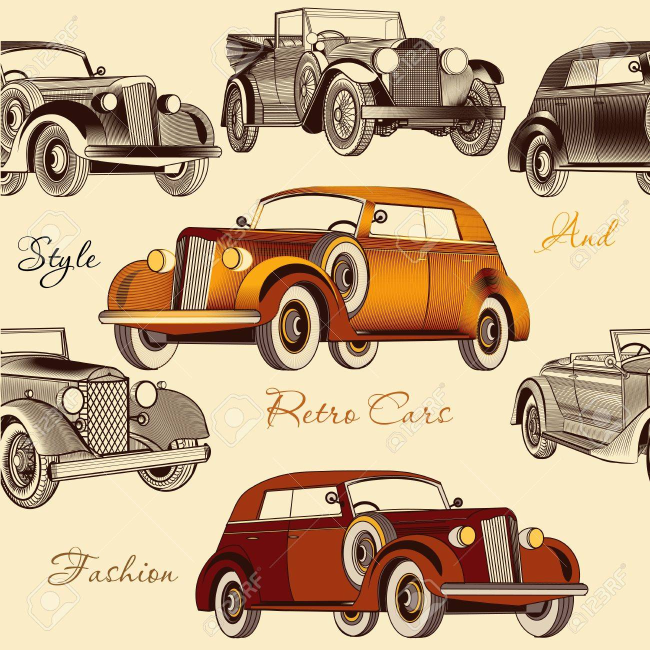 Vintage Seamless Wallpaper Pattern With Retro Cars Royalty Free