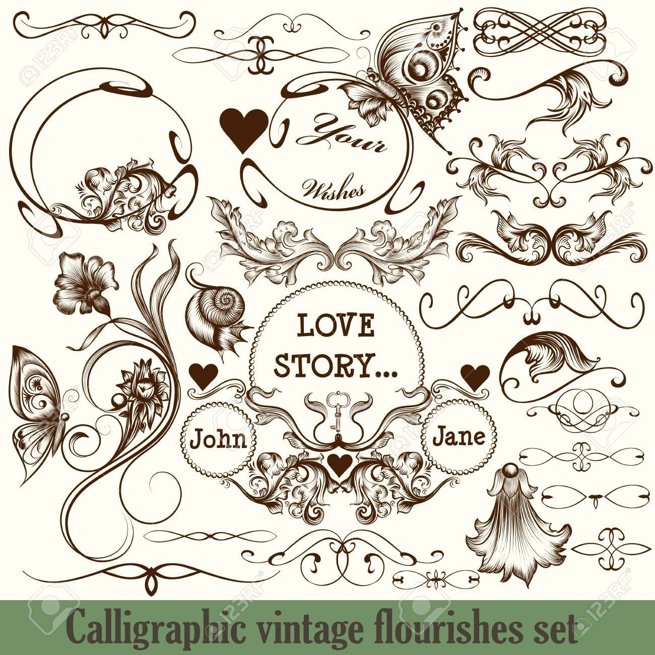 set of vector calligraphic flourishes in vintage style engraved