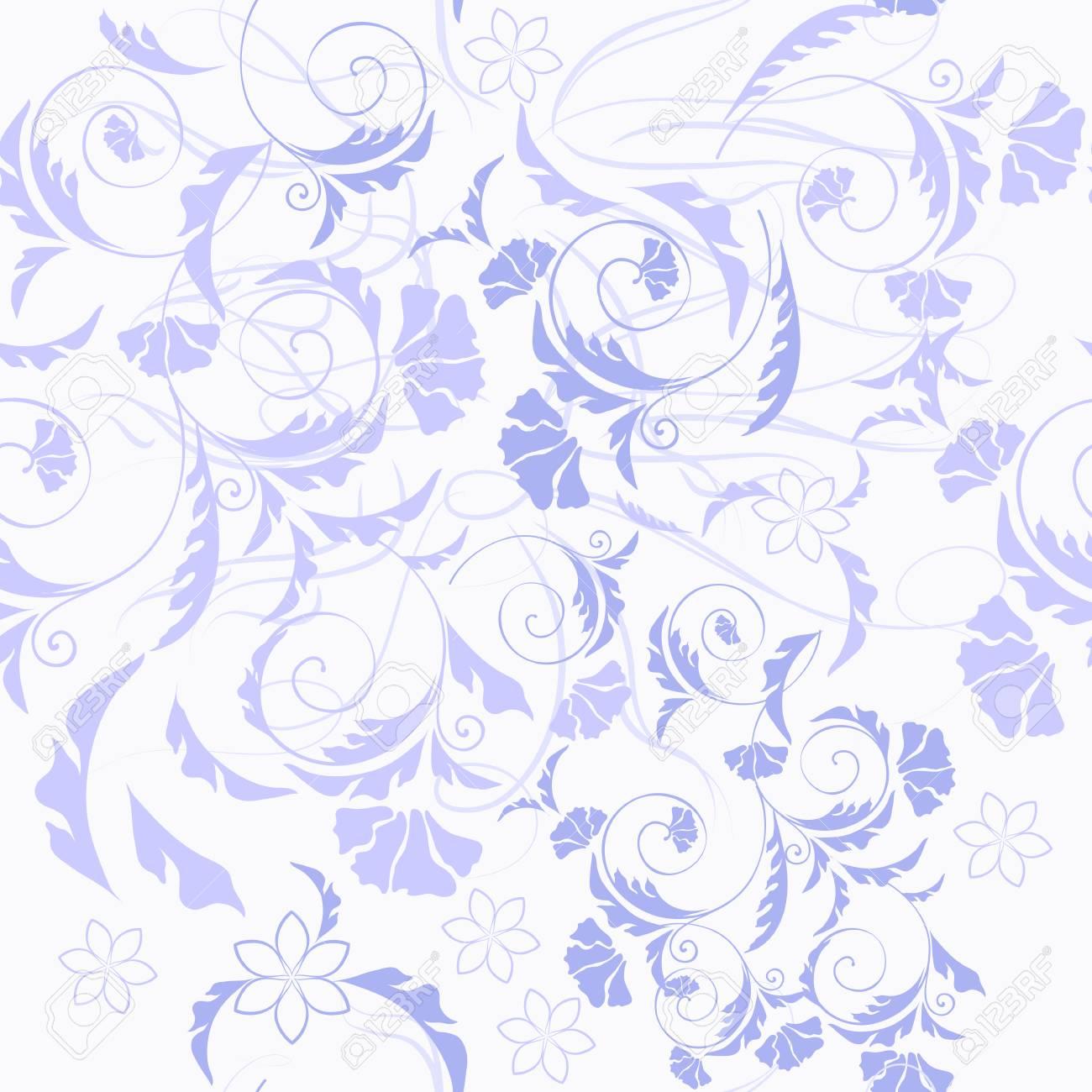 ブルーの飾りと花のシームレスな壁紙パターンのイラスト素材 ベクタ