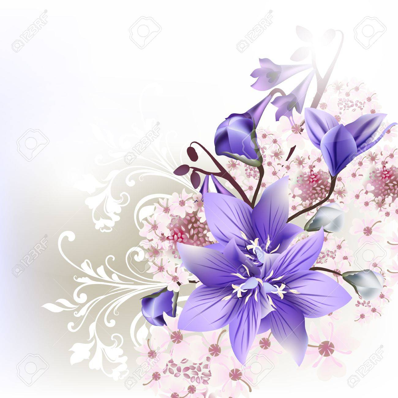 Floral Clear Background Blue Bells Flowers Royalty Free Cliparts ...