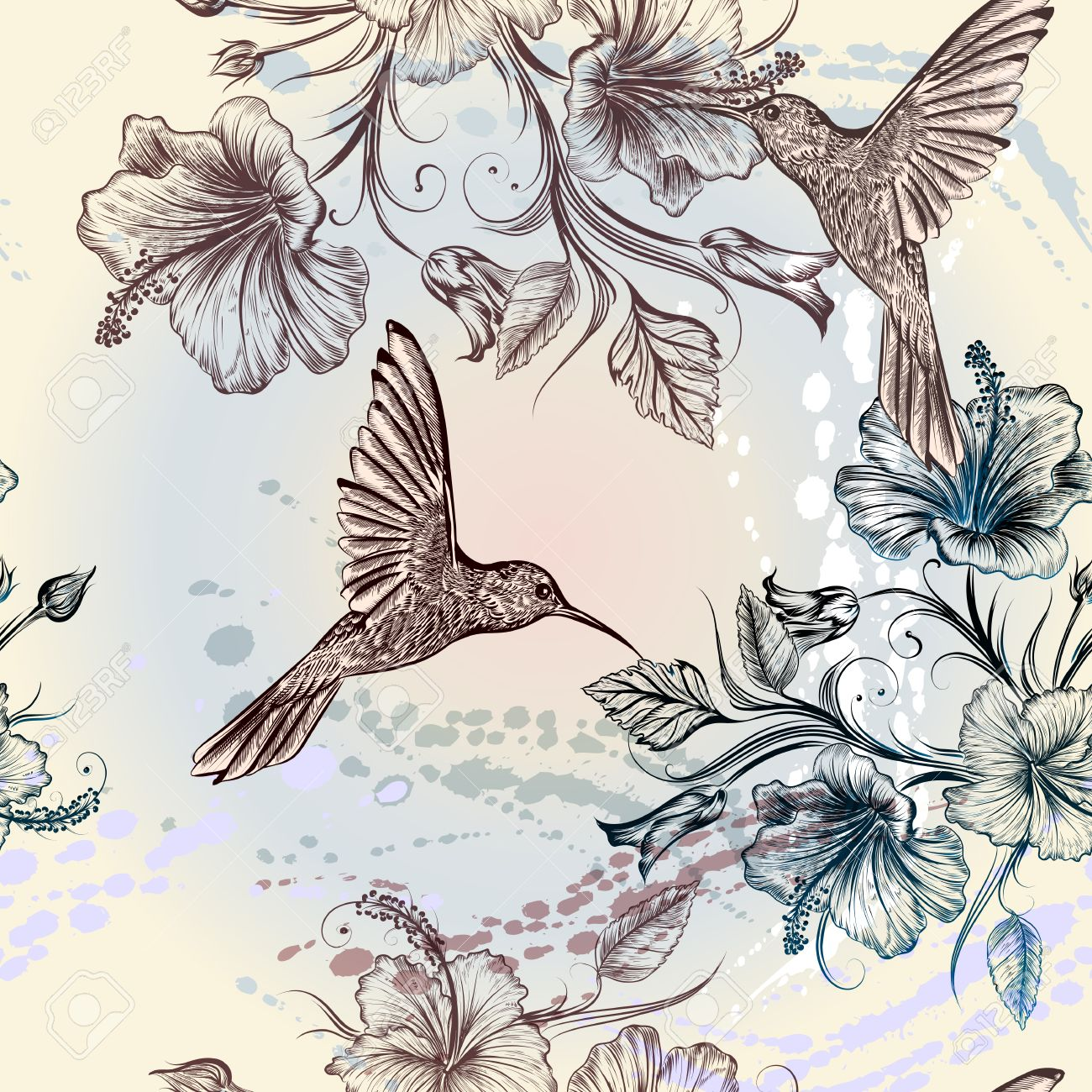 Seamless Wallpaper Pattern With Hummingbirds And Hibiscus Flowers Stock Vector