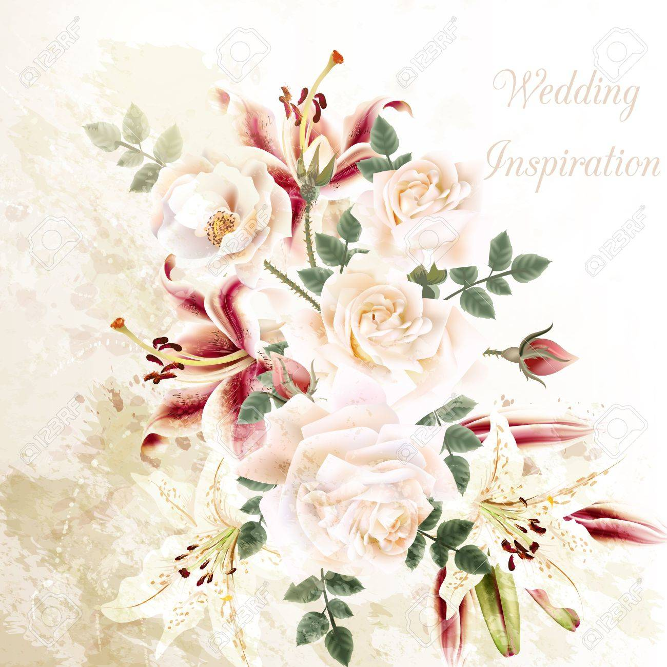 Grunge Illustration With Beautiful Roses And Lily Flowers Wedding ...