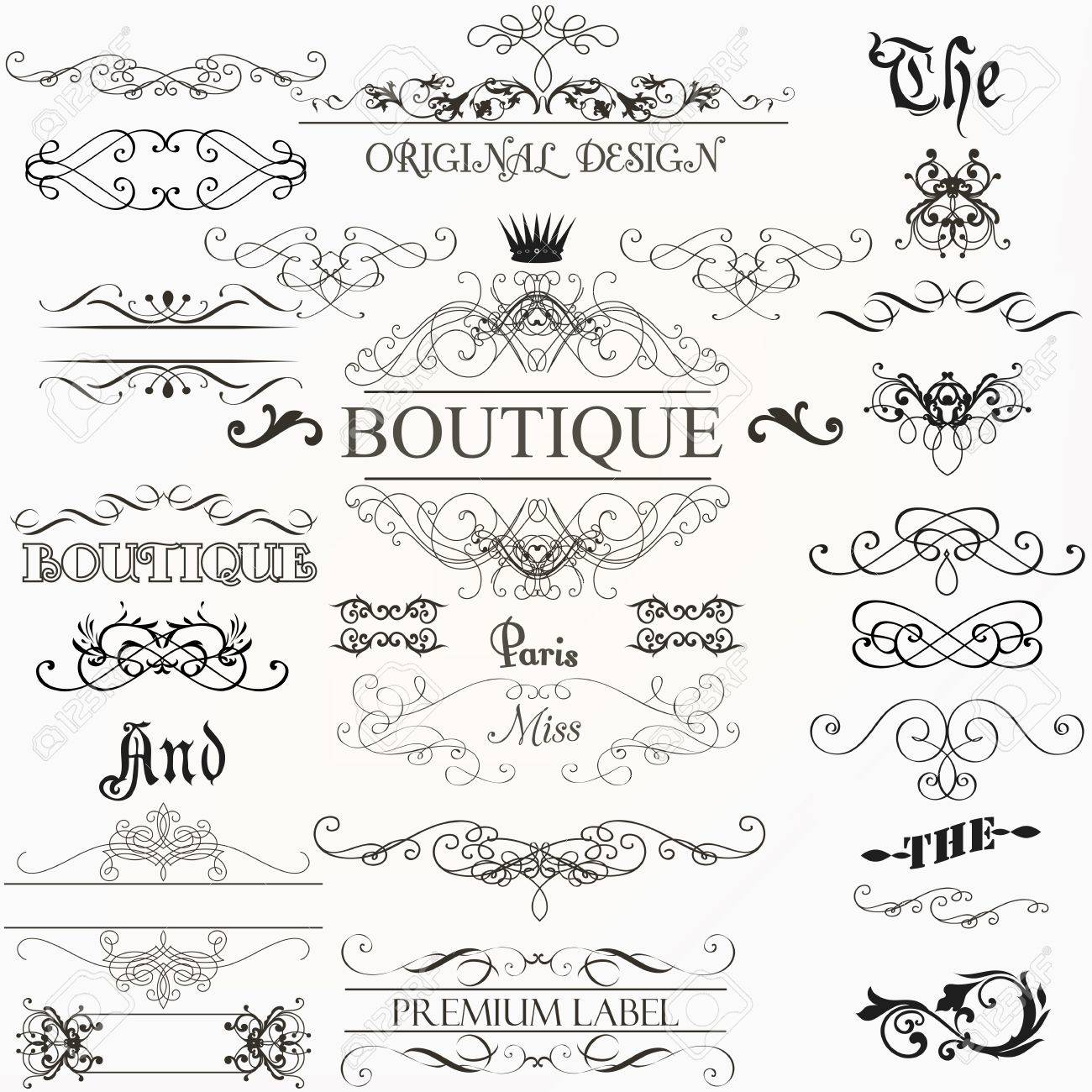 Set Of Vintage Decorations Elements Flourishes Calligraphic Ornaments Borders And Frames Retro Style Stock Vector