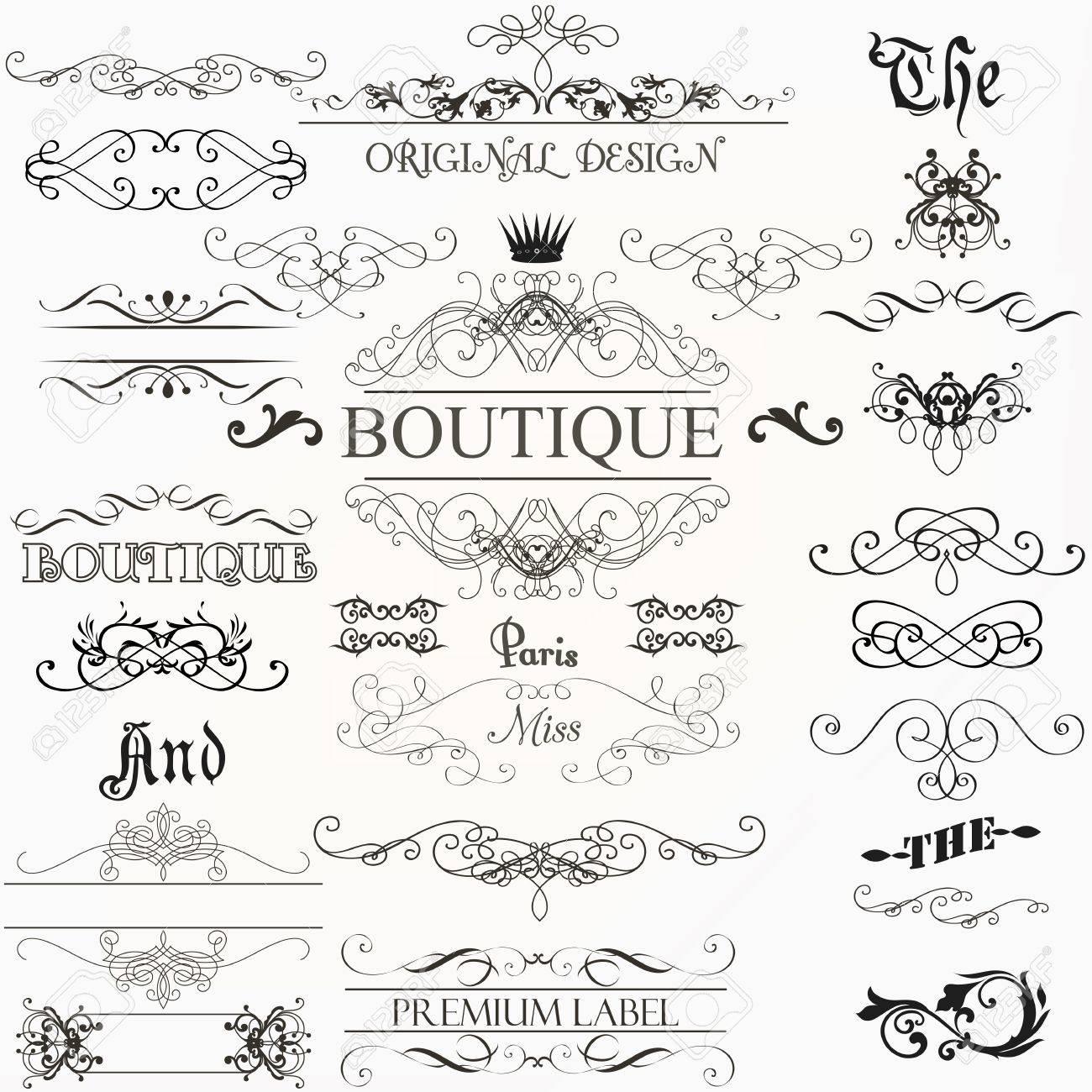 Set Von Vintage Dekorationen Elemente Blüht Kalligraphischen ...