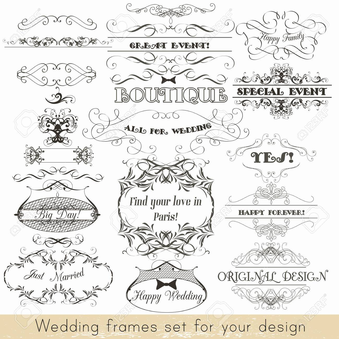 Collection of vector decorative frames for wedding invitations collection of vector decorative frames for wedding invitations design stock vector 44492001 junglespirit Image collections