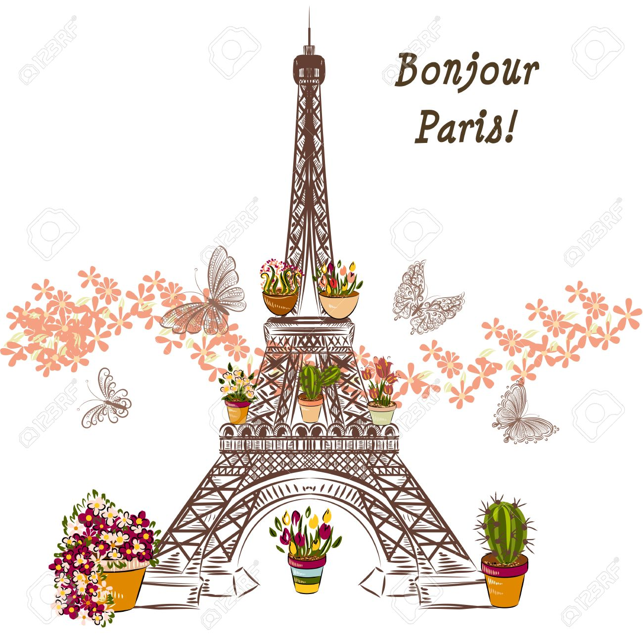 Cute Illustration With Flower Eiffel Tower And Potters Fully Of Flowers Boutique Banner Or Card