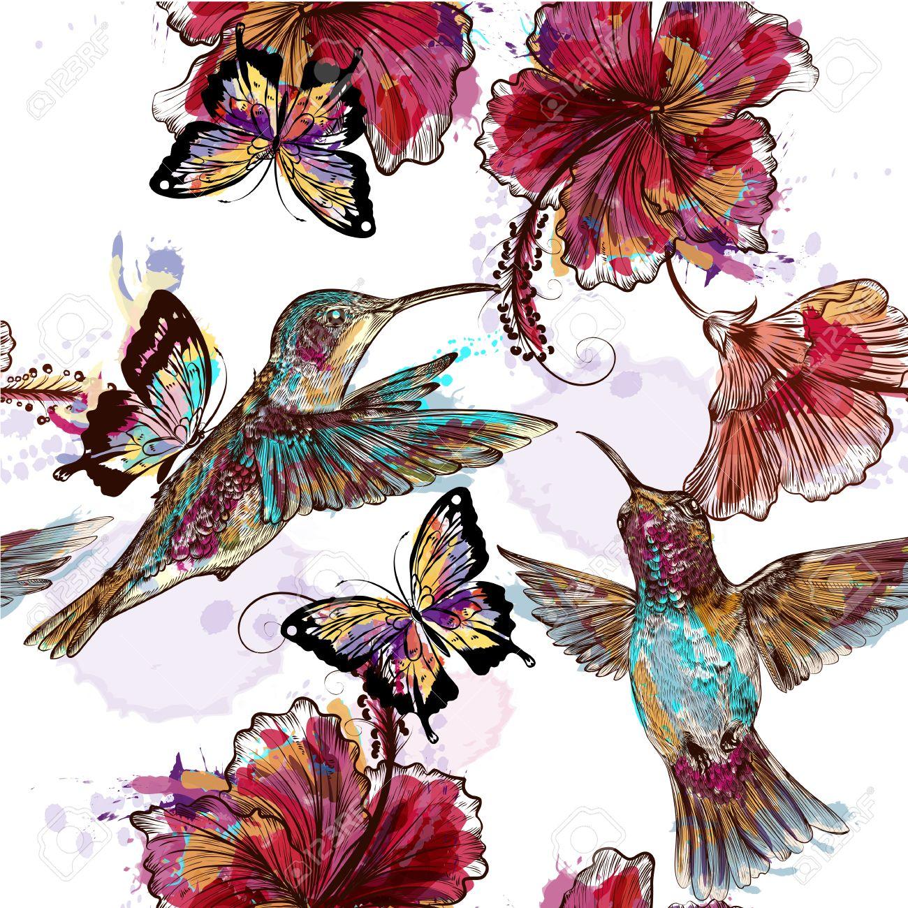 Floral Seamless Wallpaper Pattern With Hummingbirds Butterflies
