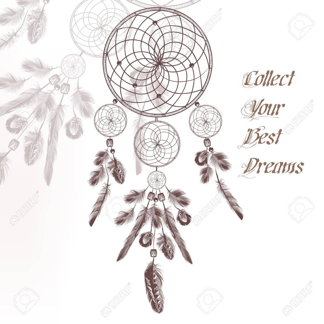 Illustration With Hand Drawn Dream Catcher In Engraved Style