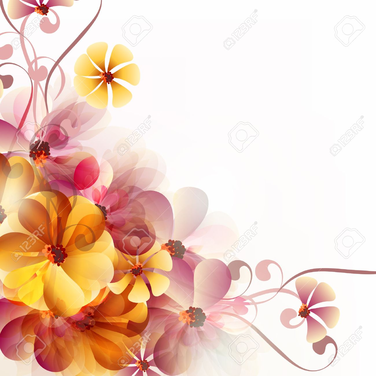 Abstract floral vector background with pink and orange flowers abstract floral vector background with pink and orange flowers for backgrounds or templates designs stock vector mightylinksfo