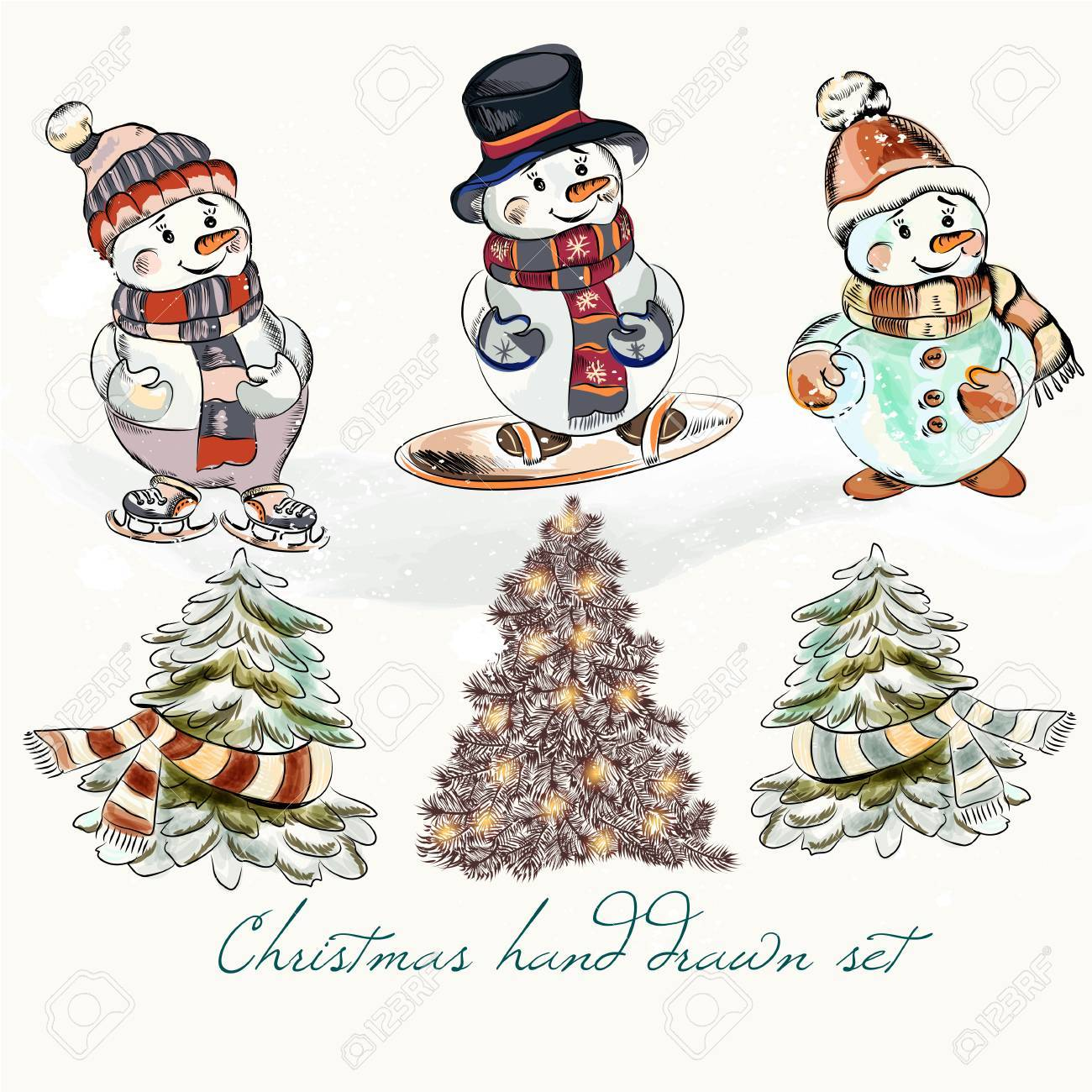 Christmas Hand Drawn Set From Cute Funny Snowmen And Xmas Trees ...