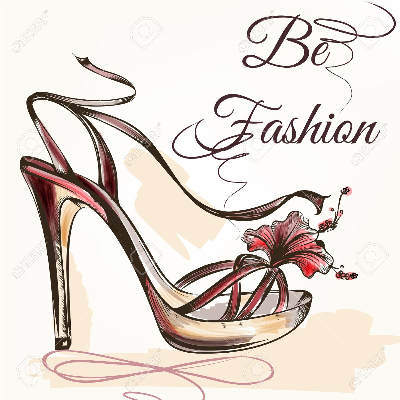 0f65f5957bf Fashion vector background with pink hand drawn female shoe