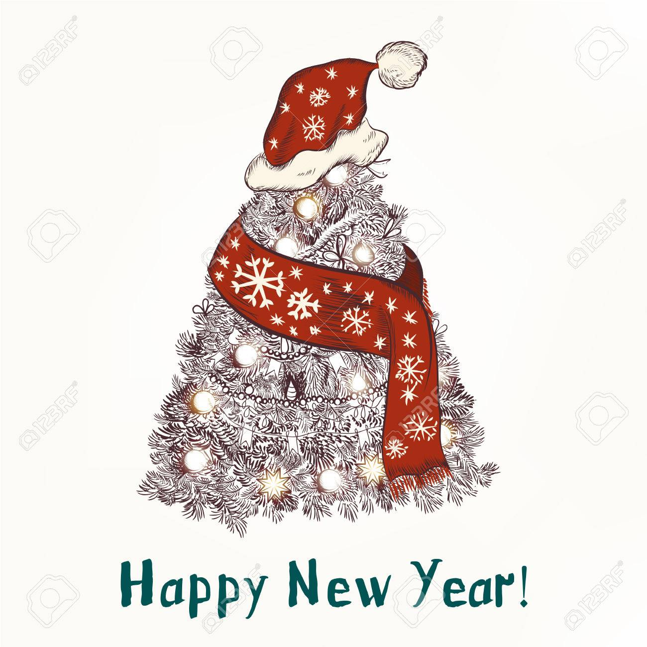 Christmas Humor Images.New Year Or Christmas Humor Background With Xmas Tree In Red