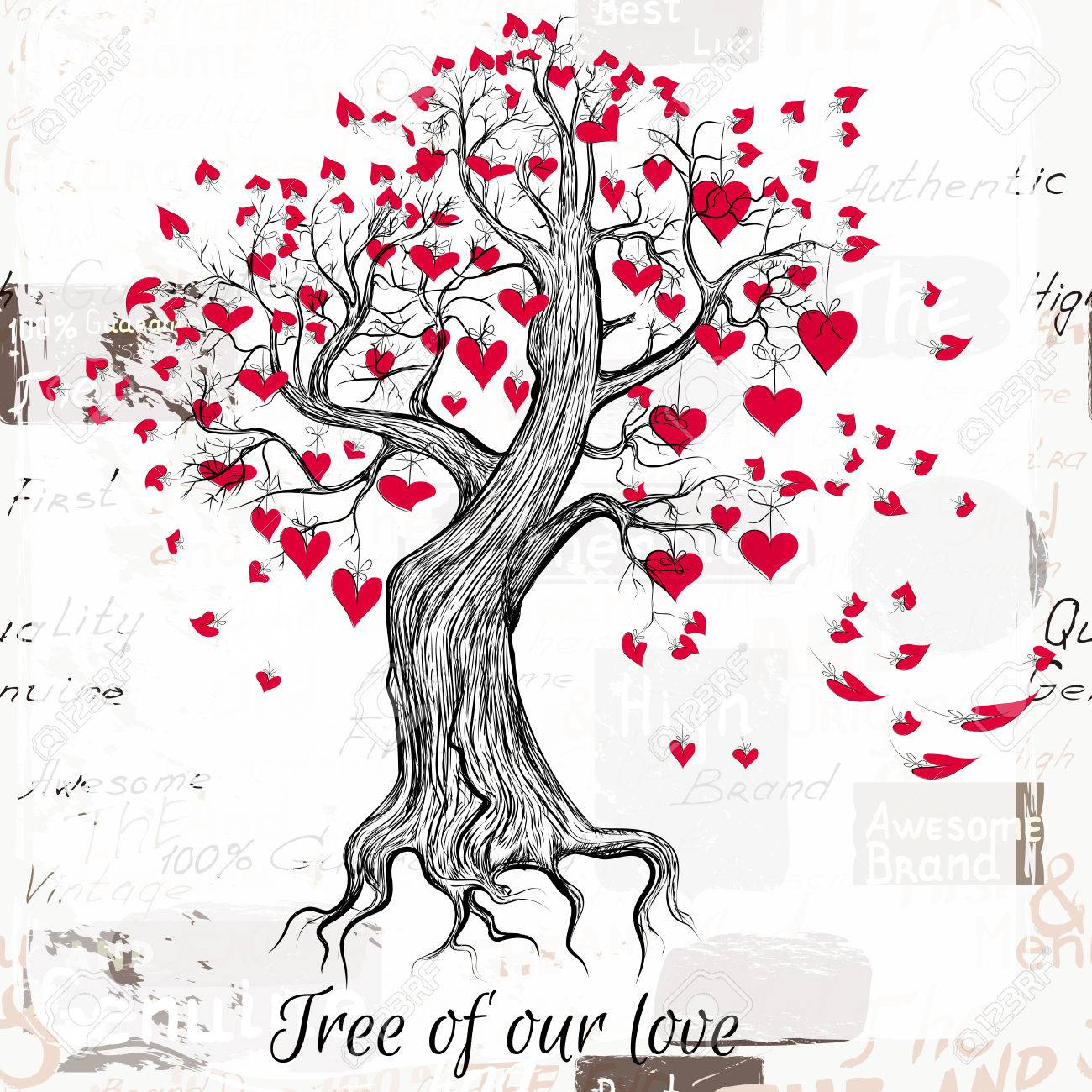 Hand Drawn Valentines Day Tree With Red Hearts Tree Of Our Love