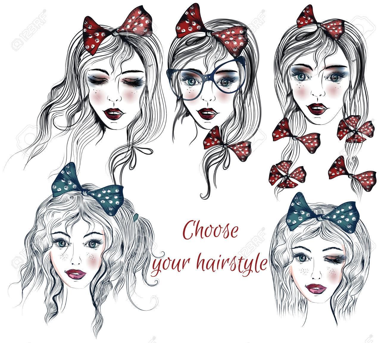 別の髪型で可愛い女の子の顔とファッションのイラストは自由に決めれます