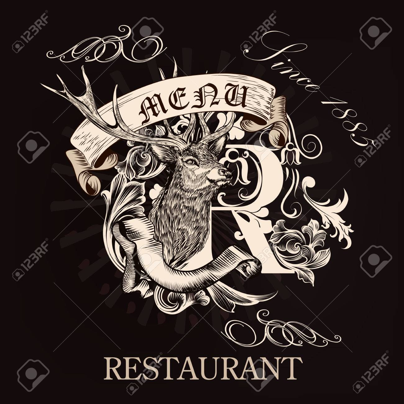 elegant menu design for restaurant in royal style with hand drawn