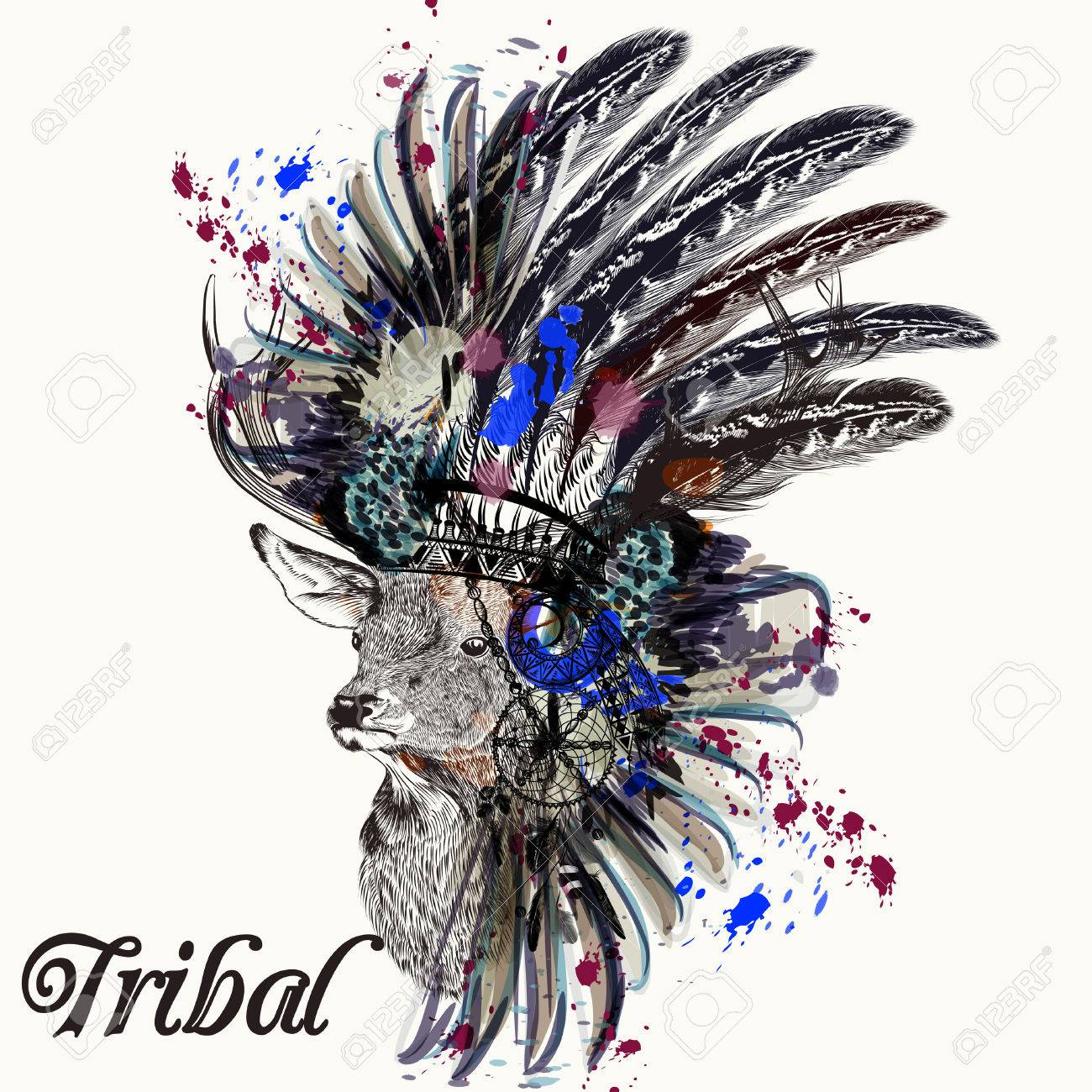 Ethnic Fashion Illustration With Indian Head Dress Deer And Ink Royalty Free Cliparts Vectors And Stock Illustration Image 63250016