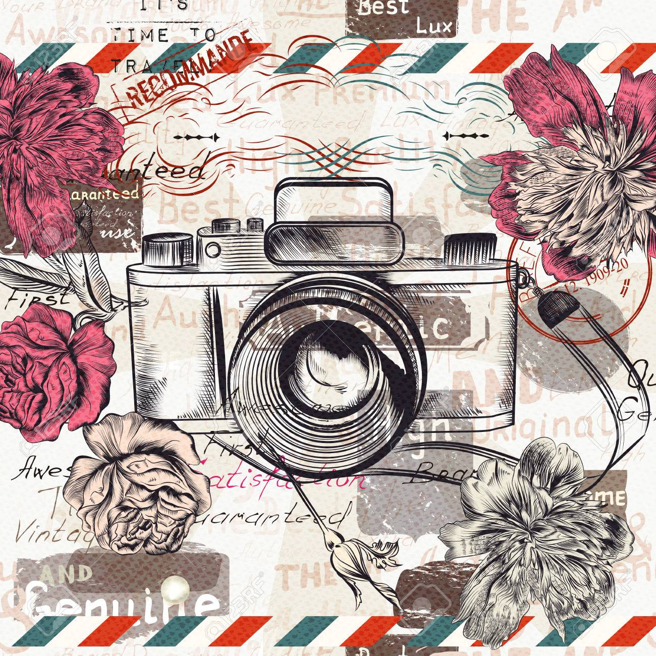 Vintage illustration or postcard with retro camera and flowers for design - 64311858