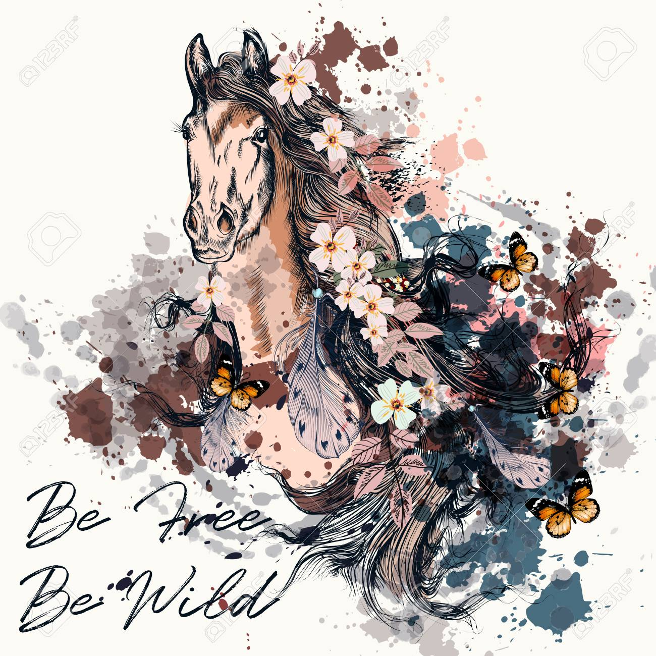 Fashion Boho Illustration With Wild Horse Be Free Royalty Free Cliparts Vectors And Stock Illustration Image 79560793