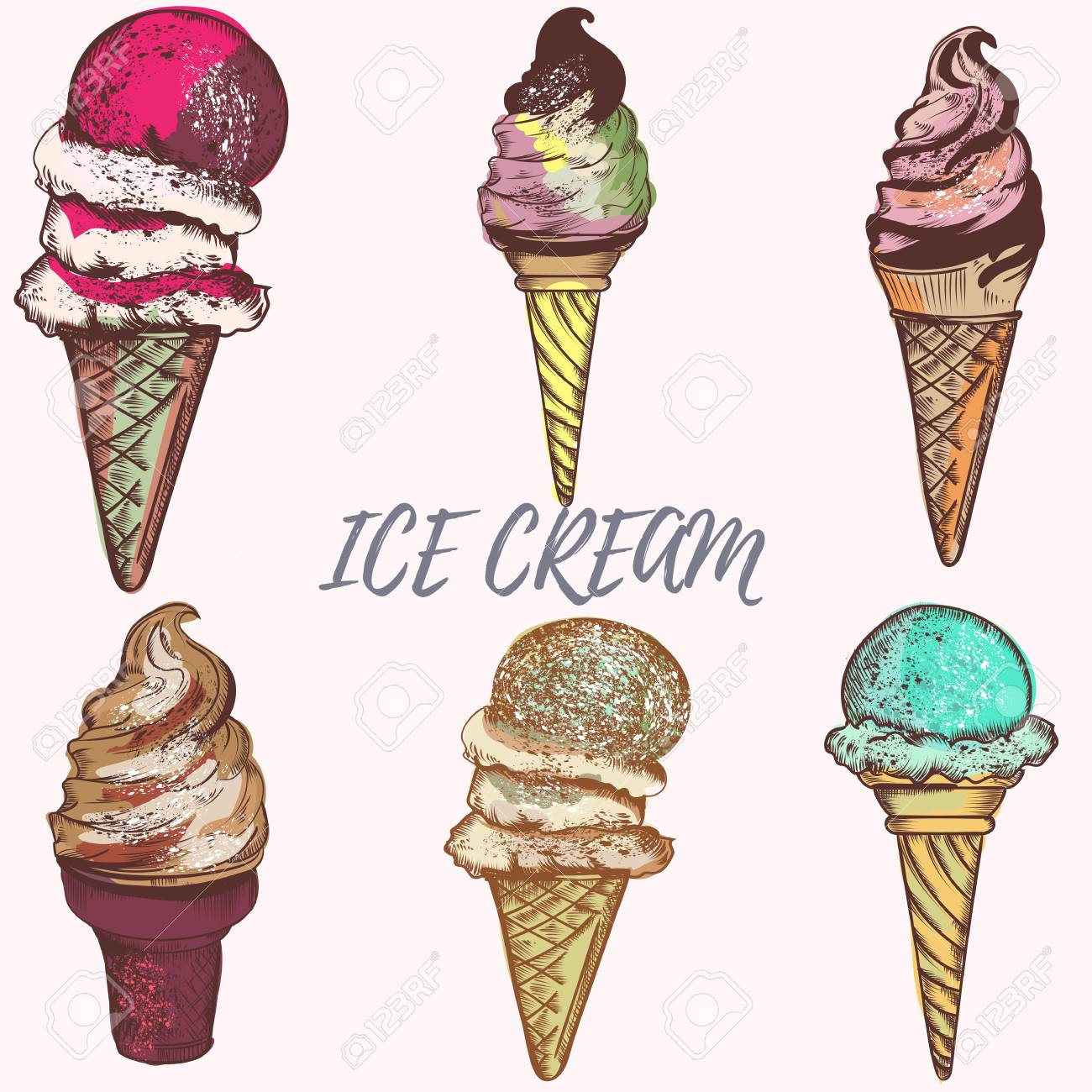 illustration with ice cream vector design royalty free cliparts