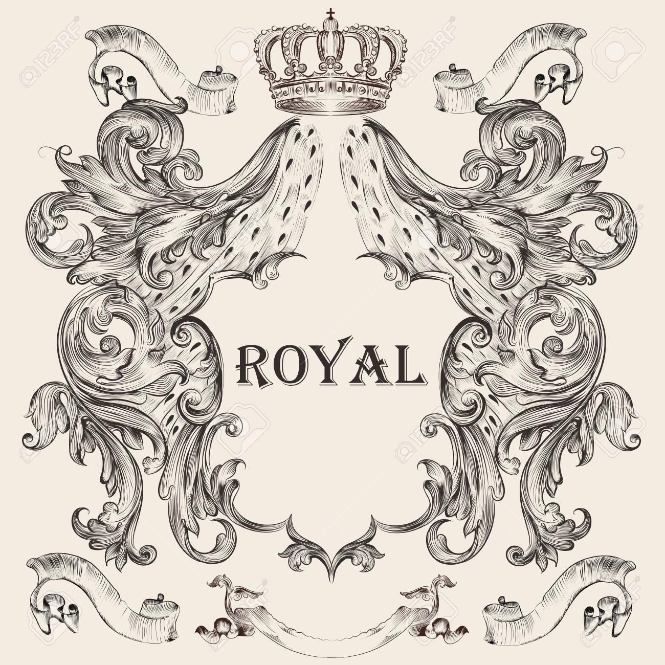 Beautiful heraldic design with shield, crown in vintage illustration. - 88262157