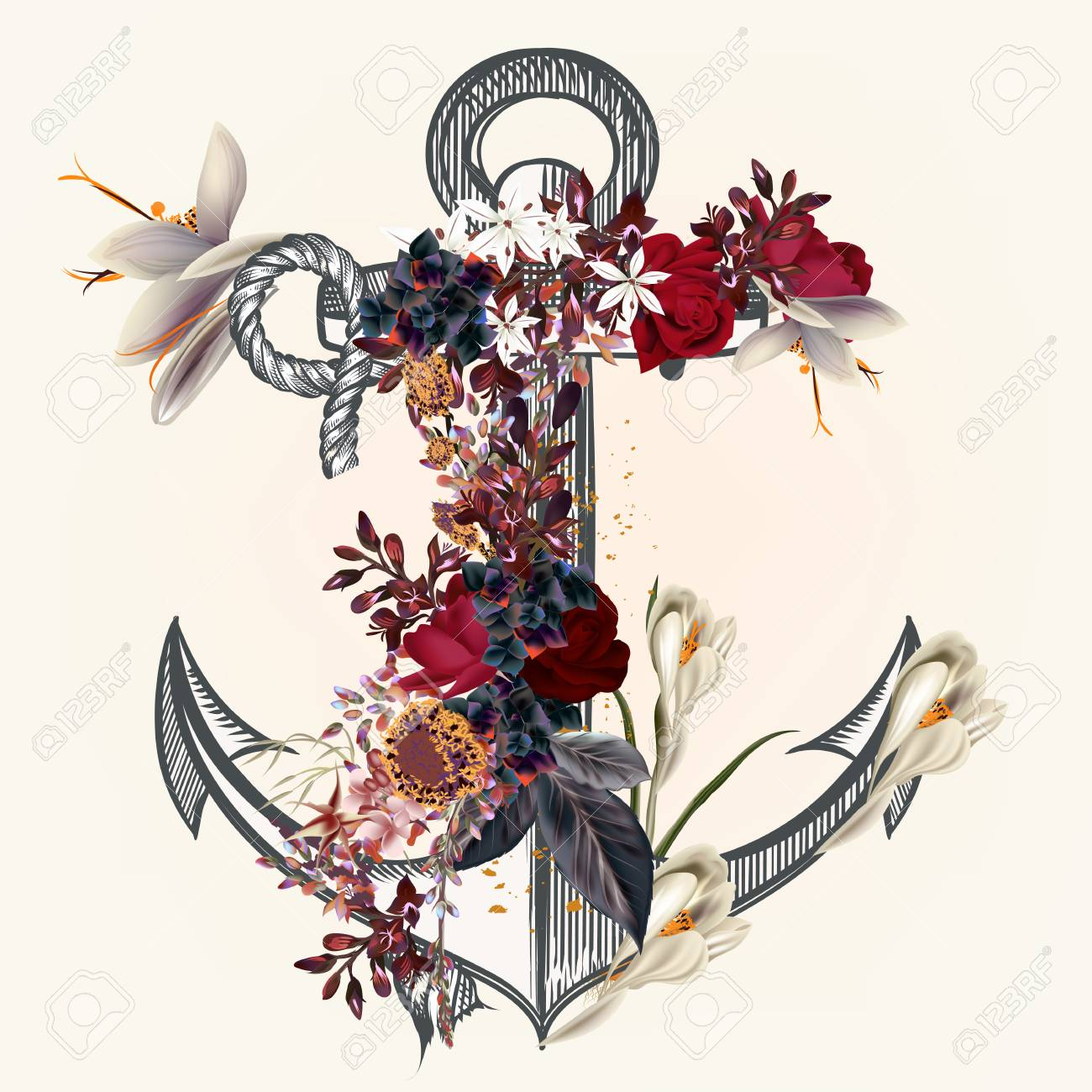 Anchor Decorated By Rose Flowers Ideal For Labels For Logotype