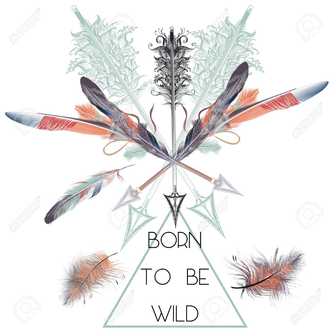 fashion t shirt print with vector boho arrows and feathers born