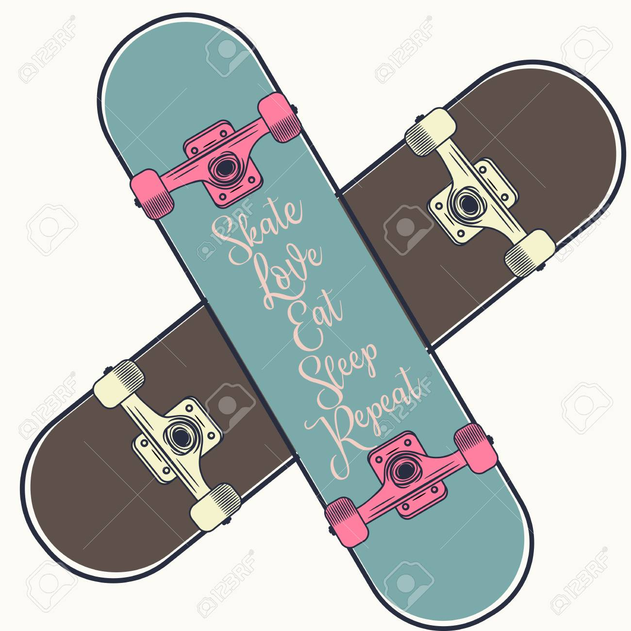 Lifestyle vector illustration with 2 skateboards girl and boy
