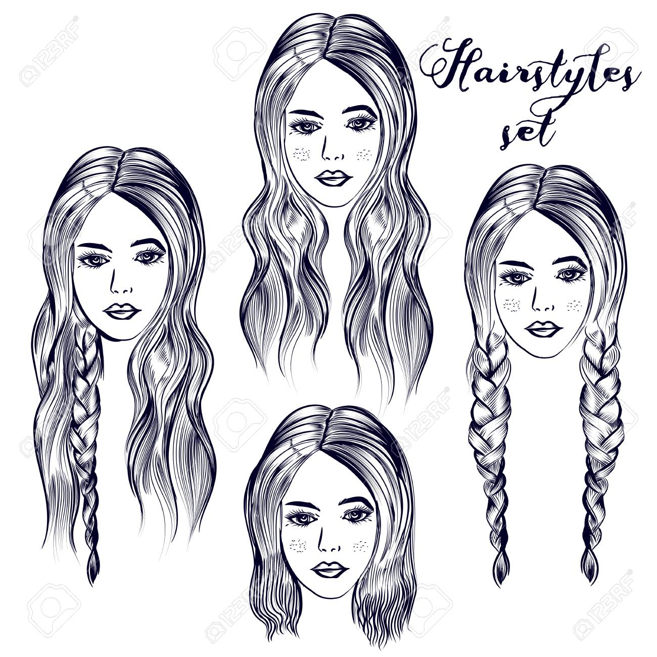 Fashion Illustration With Young Woman Different Hairstyles