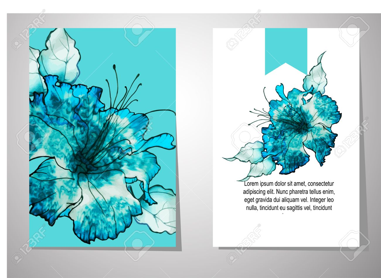 Wedding Invitation Card Suite With Batik Flower Templates Royalty ...