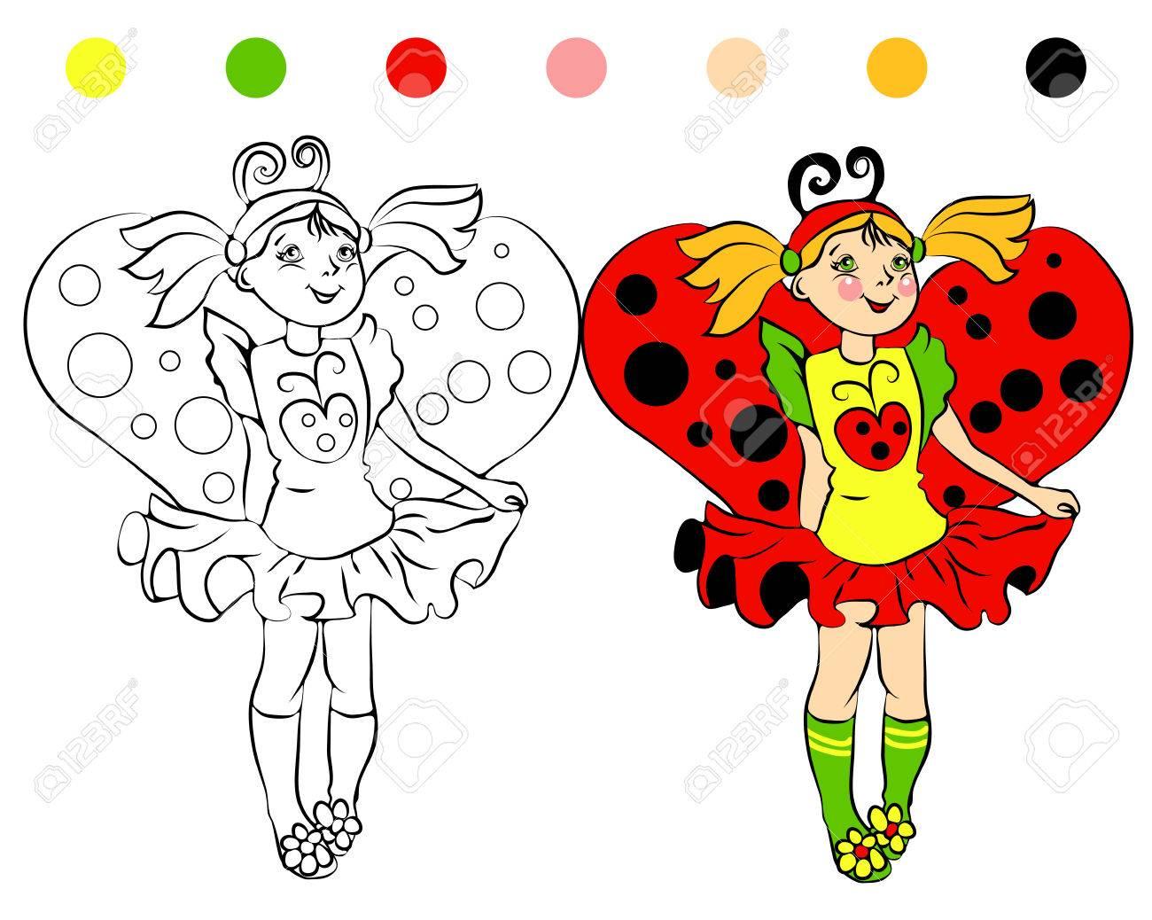 Página Para Colorear Niña En Mariquita Traje Y Las Ilustraciones De