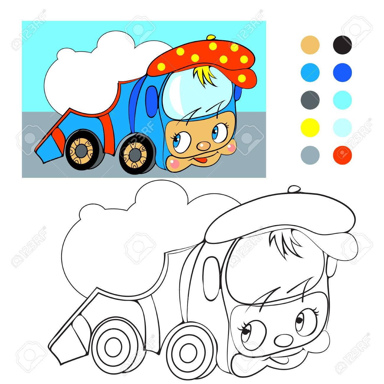 Coloring Book. Cartoon Funny Car Truck. Royalty Free Cliparts ...