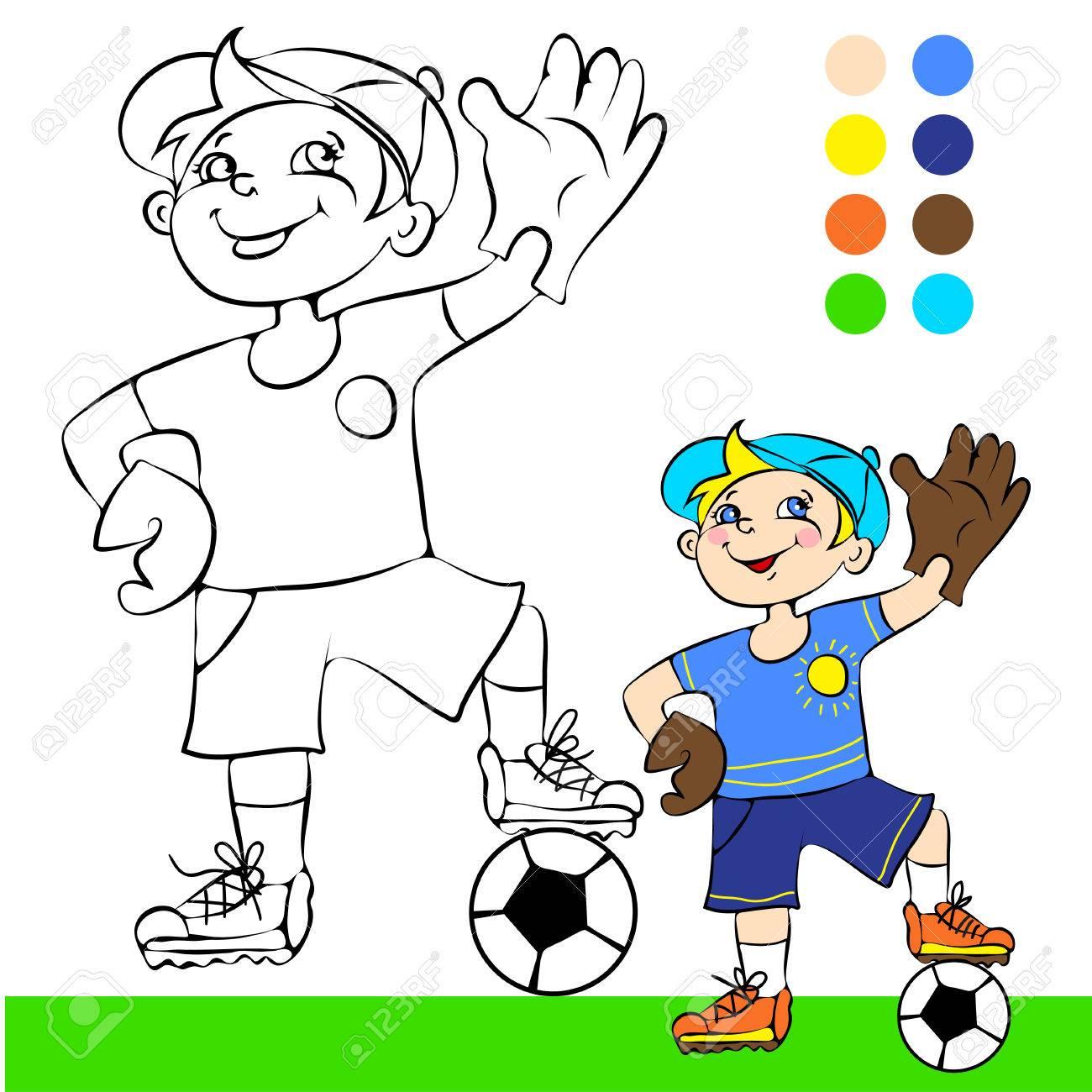 Ilustración Jugador De Fútbol De Dibujos Animados Concepto De Libro Para Colorear