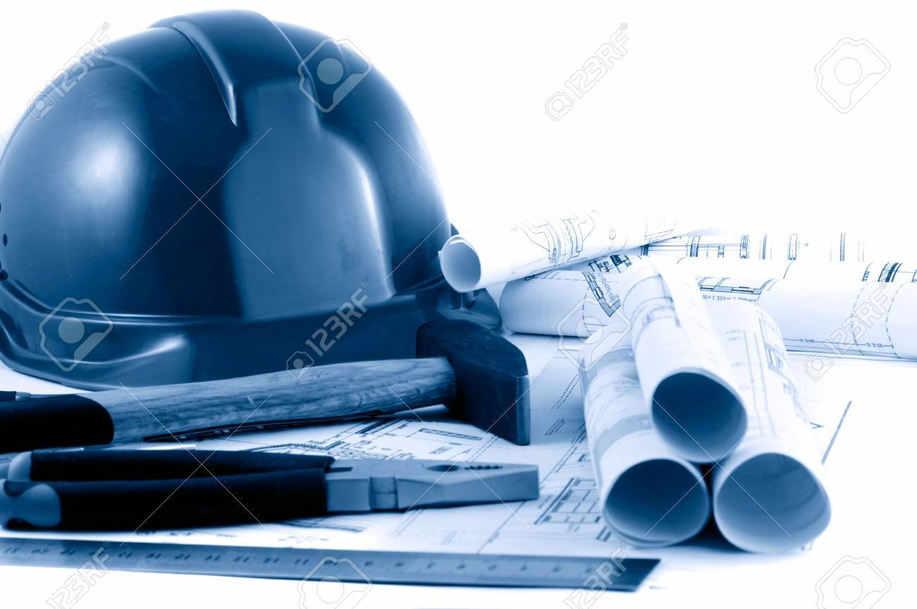 hard hat and working tools Stock Photo - 3065719