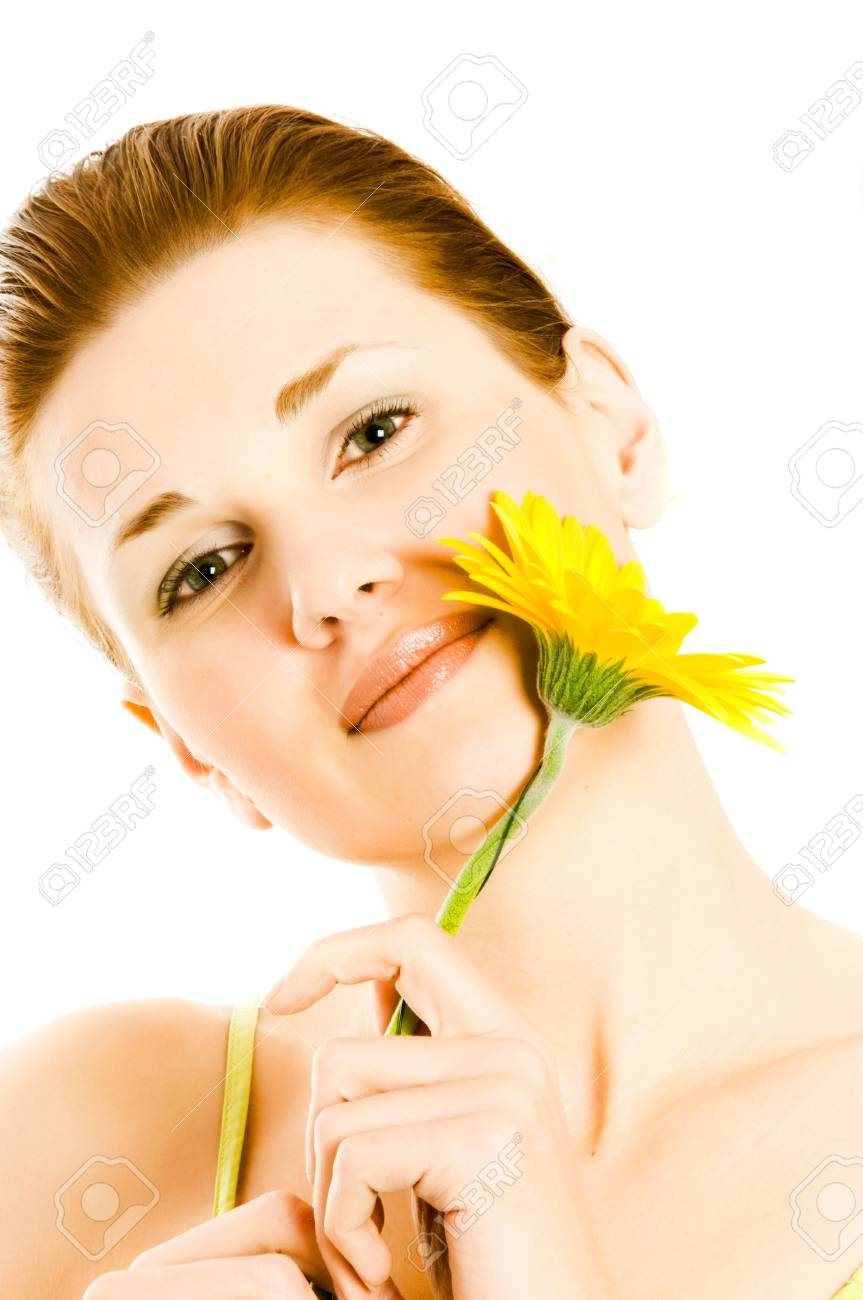 Beautiful young woman with gerber flower Stock Photo - 4093860