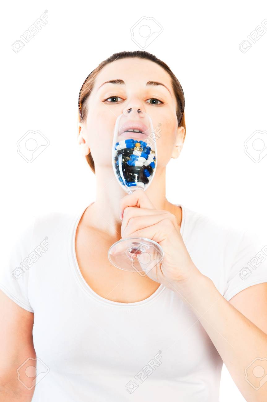 woman and pill close up Stock Photo - 6223009