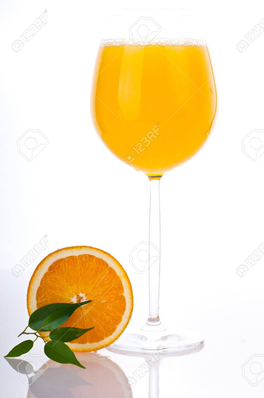 Orange fresh juice on glass Stock Photo - 7846630