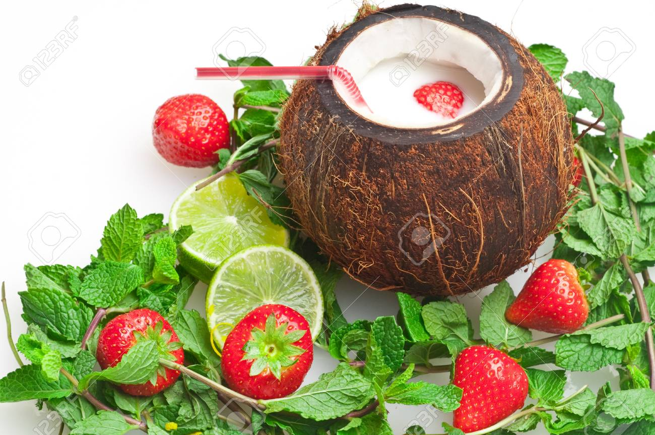coconut drink with strawberry and mint Stock Photo - 8047459