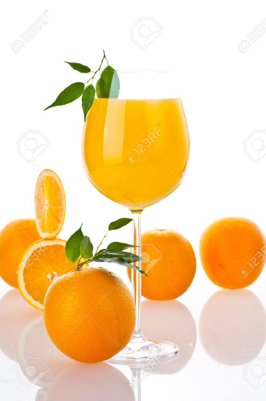 Orange fresh juice on glass Stock Photo - 9772445