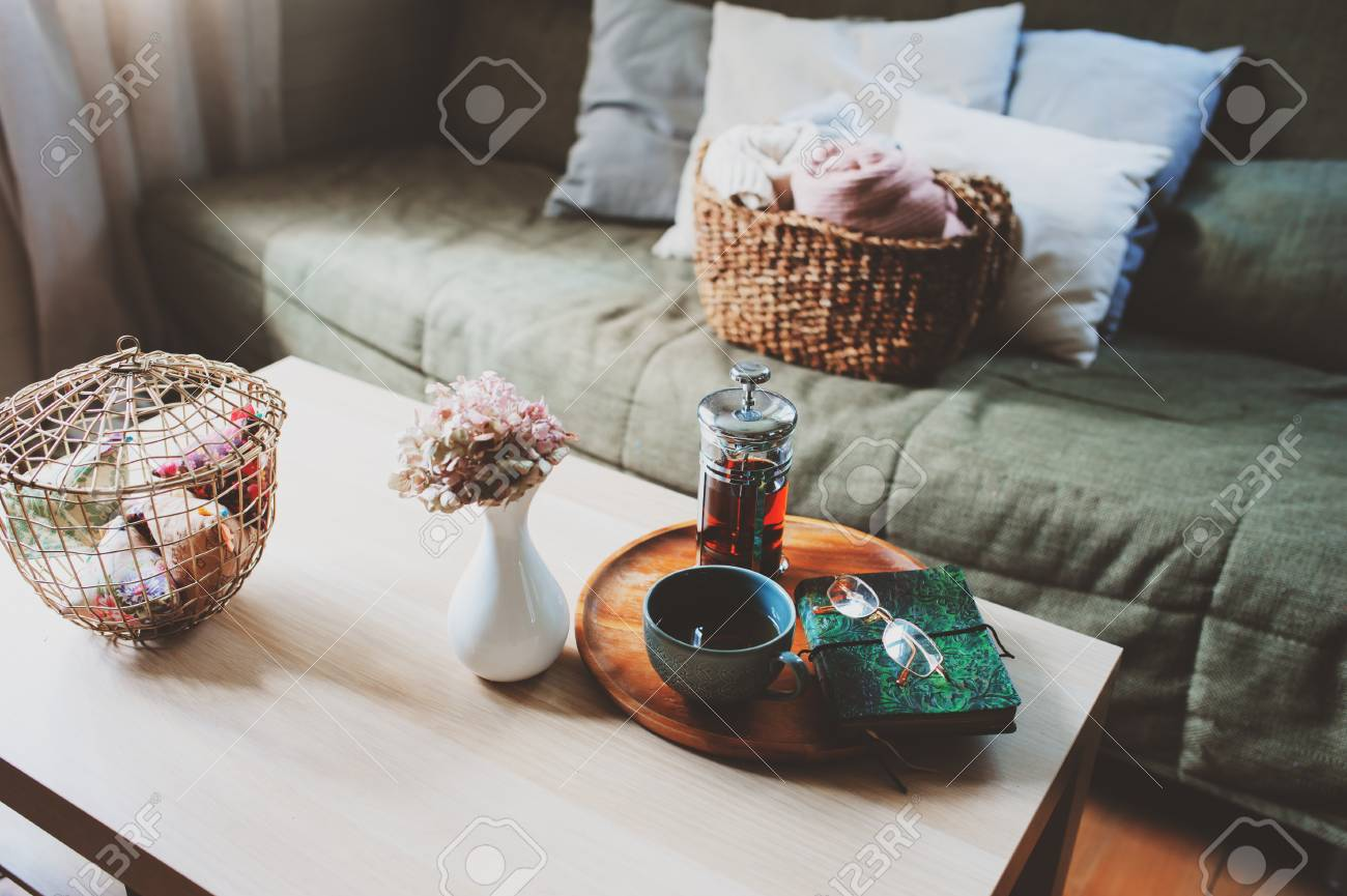 Country House Living Room Interior Details Cozy Couch Hot Tea Stock Photo Picture And Royalty Free Image Image 115462321