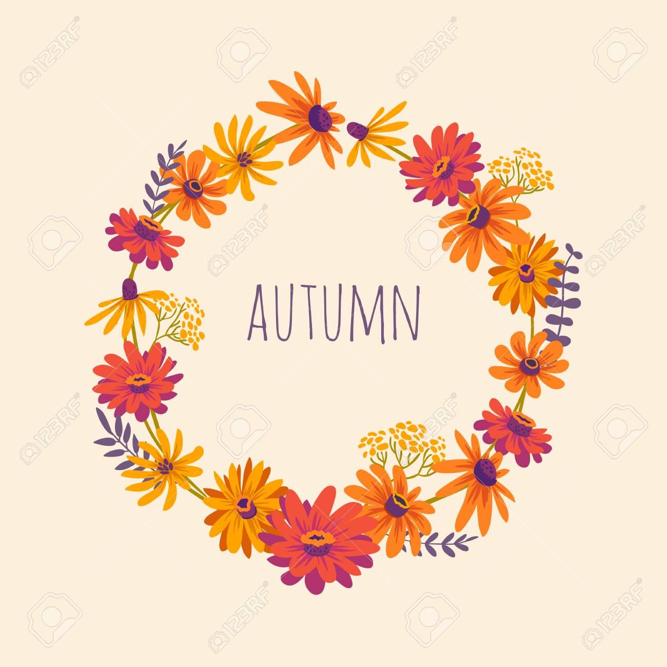 秋手にはガーベラのリースのイラストが描かれましたベクター美しい花で花の背景