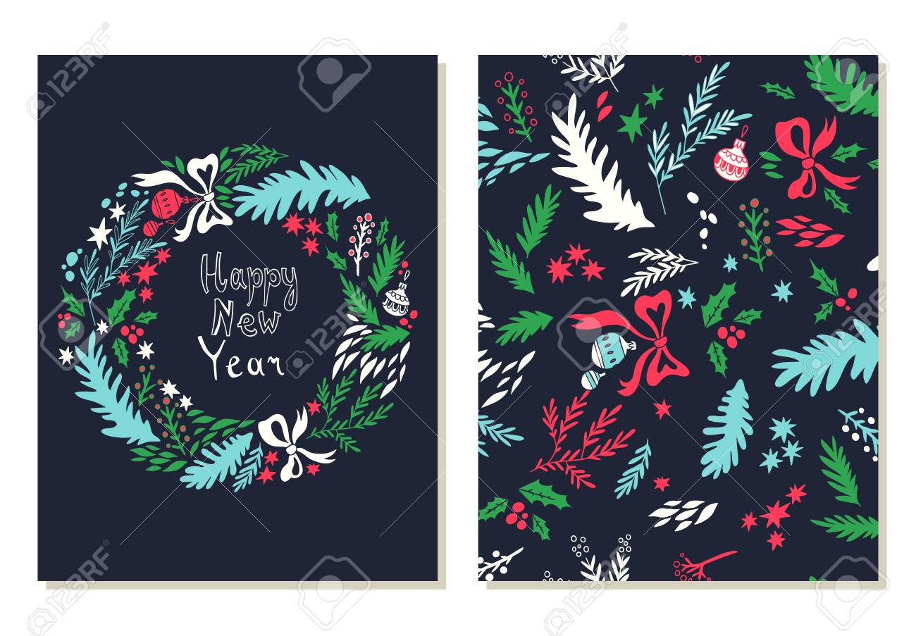 happy new year card illustration with christmas wreath background with floral elements greeting